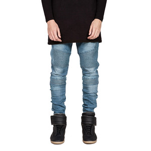 Wenyujh Streetwear Erkekler Biker Jeans Homme Ripped 2018 Yeni Erkek Moda Motosiklet Slim Fit Moto Denim Pantolon Joggers Sıska Pantolon Y19060501