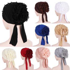 Women New Style Ruffles Large Flower Scarf Muslim Head Head Turban Handkerchiefs Ladies Turbante