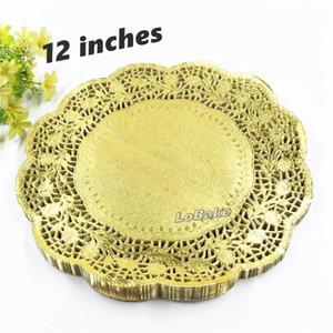 (100 parça / paket) Yeni gelenler 12 inç altın renkli yuvarlak kağıt dantel doilies kek ekmek placemats ev yemeği sofra