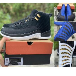 2019 12 Ters Taksi 12 Oyunu Kraliyet 12 s Toptan FIBA Kutusu Ile gerçek karbon fiber Siyah Mavi Beyaz Basketbol Ayakkabı Erkekler ücretsiz kargo