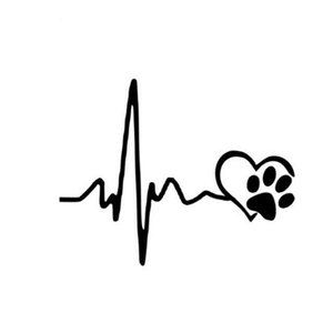 13*10.3CM HEARTBEAT LOVE DOG CREATIVE VINYL CAR STICKER ca-638