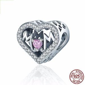 925 Ayar Gümüş Boncuk Hollow En İyi Anne Kalp Charms Bilezik Bileklik DIY Takı Yapımı Için