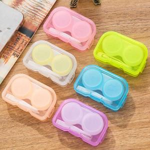 Zufällige Farbe Transparente Tasche Kunststoff-Kontaktlinsenbehälter Travel Kit Easy Take Container Holder DLH329