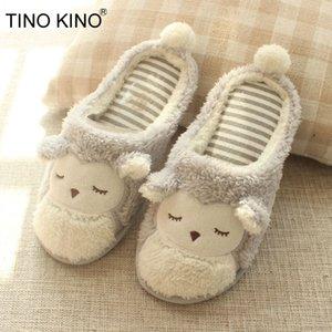 TINO KINO mujeres caliente felpa Vivienda Piso deslizadores de la mujer peluda Comfort Impresiones animales Indoor Shoes ocasional de las mujeres señoras del invierno suave