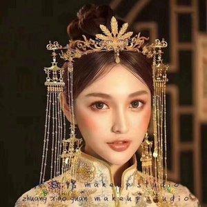 Braut neuer Stil altes Kostüm Kopfbedeckungen chinesische Hochzeit Haar Phoenix Krone Palast retro Troddelohrknochen Satz CJ191226