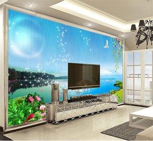 Papel tapiz 3D Wallpaper Decoración para el hogar Dream Swan Lake Landscape Wallpaper Wallpaper para paredes