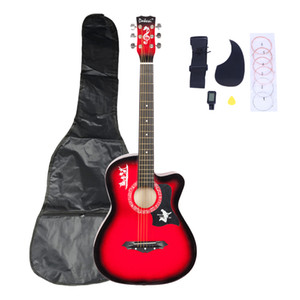 New Red Basswood Cutaway Acoustic Guitar w Bag String Pick Strap for Beginner Shipping from US