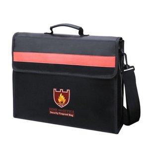 어깨 끈 핸들 가방 파일 가방 방화 문서 가방 비 가렵고 유리 섬유 천 방수 홀더 25.5 * 35cm