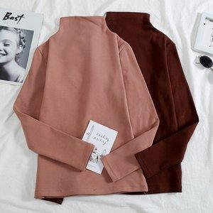 Весна и осень Половина Trutleneck с длинными рукавами футболки женщин Тонкий основывая Tee Shirt Solid Color Fall Basic Tops M