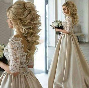 Real Image! 2020 Newest Champagne Wedding Dresses Sheer Neck Half Sleeves Appliques Lace Satin Wedding Gowns Vintage Bridal Dresses