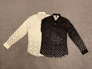 20ss hombre de las camisetas tee cartas parís letras gradiente imprimen ropa camisas de manga larga de los hombres de las mujeres reales Nueva