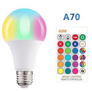 E27 RGBW Ampoule LED 3W5W10W15W Lampe lampe avec mémoire 85 ~ 265V Télécommande 16 changement de couleur LED éclairage global Luz 24key Controller
