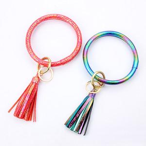 Femmes Filles Tassel Bracelet en cuir PU Laser Holographic Chaîne de Bangle Wristlet Bracelets bracelet Cercle Porte-clés Pendentif de D21703