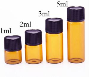 앰버 드 로퍼 미니 유리 병 에센셜 오일 디스플레이 바이알 작은 세럼 향수 브라운 샘플 용기 미니 빈 액체 샘플 바이알