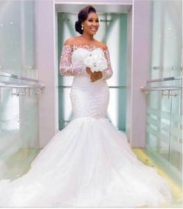 2019 뉴 아프리카 인어 웨딩 드레스 럭셔리 레이스 숄더 페르시 Tulle Sweep Train 웨딩 드레스 섹시한 커버 버튼 브라 Dresse