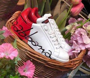 Chaussures de sport Portofino Imprimé Napa Calfskin Chaussures Tag décoration semelle extérieure en caoutchouc Explosion en cuir verni chaussures plates à faible Top Luxury D Homme