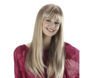WIG HOT Free >>>Stylish Neat Bang Natural Straight Long Light Blonde Capless Women's Wig Hair