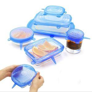 Universale in silicone Stretch coperchio coperchio di aspirazione Lid-ciotola padella di cottura Pan Pot Spill coperchio arresto del coperchio della cucina Accessori 6pcs / set LXL1121-1