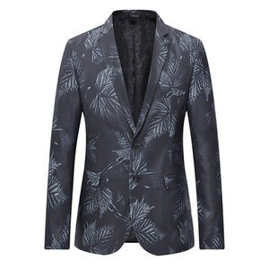 Mens Black Leaf Blazer Jacket 2020 Brand New Single Breasted Two Button Suit Blazer Men Party Wedding Prom Stage Costumes 6XL