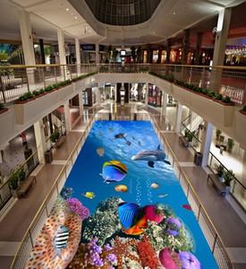 Plancher en pvc 3d personnalisé photo Étanche Autocollant imperméable au sol Clear sea beach spray 3D océan dauphin décor salon papier peint pour les murs 3 d
