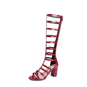 Hot2019 Rome Coarse Le vent Vin rouge haute Chaussures à talons Sandales Loisirs Temps Bottes fraîches