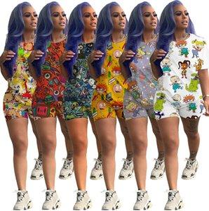 Diseñador para mujer del chándal imprimió la historieta Casual Juego Corto Trajes de manga de 2 pedazos cortocircuito de la camisa camisa de los trajes del deporte de las bragas Clubwear T12