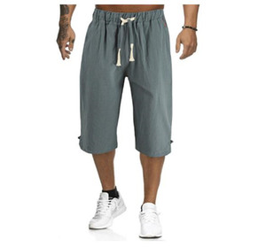 Pure Color Summer Mens Shorts Middle Waist Loose Casual Teenagers Summer Mens Designer Capris With Belt