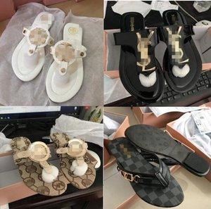 flip-flops leather Women sandals Beach Cork Slippers MìchaêlKòrs Buckle Clogs Slides Women Slip on Flip Flop Shoes size35-42 free Shipping