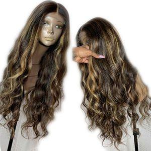Virgin brasileiro do cabelo humano rendas frente Cabelo Humano Perucas Pré arrancado com bebê cabelo afrouxa Aceno Destaques peruca Ombre mel Loiro
