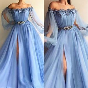 Gökyüzü Mavi Gelinlik Modelleri 2019 Yousef Aljasmi Dubai Arapça Dantel Abiye giyim Seksi Parti Elbise Scoop Boyun Vestido De Festa