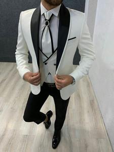 Smoking del novio de los hombres juegos del juego de boda del hombre Blazer Negro mantón de la solapa de la chaqueta de las bragas del chaleco 3Piece Terno Masculino Esposo de vestuario Homme Mariage