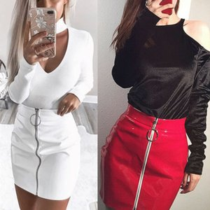 Mode féminine taille haute Zipper Stretch Short Pencil Mini jupe blanche