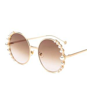 2019 солнцезащитные очки круглые солнцезащитные очки рамка жемчуг тоже глаз Европейский и американский модный тренд металлические солнцезащитные очки