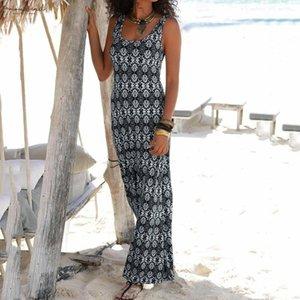 Long Dress For Wedding Party For Woman Women Halter Neck Boho Print Sleeveless Casual Mini Beachwear Dress Sundress G7