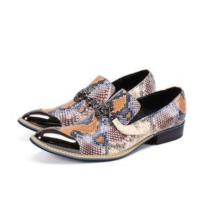 Batzuzhi Nouvelle personnalité Chaussures Hommes d'or Toe couleur cuir Robe Chaussures Hommes Slip-on Businesss, Parti et chaussures de mariage, EU38-46
