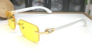 2020 neue kühle Art und Weise Mens hölzerne Sonnenbrille Sportbüffelhorn Glasobjektiv-Sonnenbrille für Männer klare Linsen mit Fall billiger Gläsern Lünetten