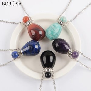 Borosa Amazonita Lapis botella de perfume de cristal collar de gemas de piedra collar Botella de aceite esencial Conector de plata WX1608