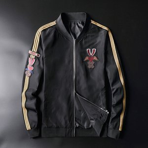 Nueva kiryaquy de lujo de hombres pareja manga de la costilla de rayas bordado amante del béisbol abrigos chaquetas Resumen capa Motor # N139