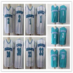 NCAA MenшарлоткаШершни 2 Johnson 1 Bogues 30 Curry 33 Траур город Swingman Джерси Icon издание баскетбольное спорта