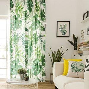 RZCortinas Perdeler Yatak Odası T200323 için Salon Yeşil Yaprak Baskılı Pencere Perde Özelleştirilmiş Pamuk Keten Cortinas Şeffaf Tül için