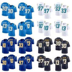 새로운 남성 로스 앤젤레스충전기33 Derwin 제임스 (10) 저스틴 허버트 (30) 오스틴 Ekeler 13 키넌 알렌 (97 개) 조이 보사 축구 유니폼