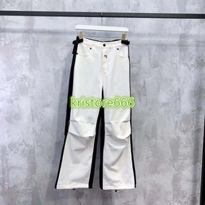 high end women girls denim pants jeans patchwork letter motif casual vintage loose straight wide leg pant fashion design luxury trouser