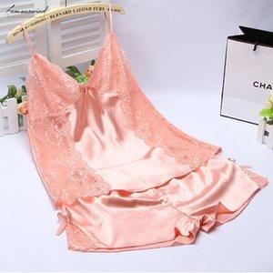 Silk Satin Pajamas Sets Women Female Sleep Set Womens Deep V Neck Sexy Spaghetti Strap Shorts Sleepwear Pajama Sets For Women