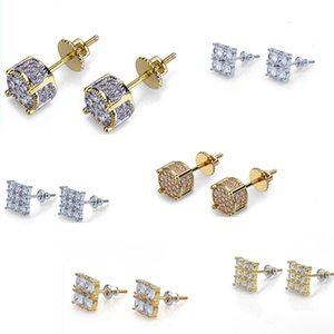 6 Designs for Options Gold Plated Iced out CZ Diamond Cluster Zirconia Screw Back Stud Earrings for Men Women Hip Hop Jewelry