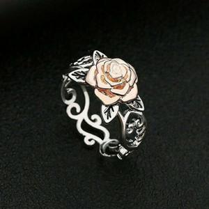 FAROOT Antik 14K Rose Gold überzogen Blumenblumen-Ring-Frauen-Verpflichtungs-Schmucksachen Größe Damen Ringe