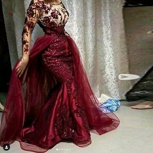 2020 New Burgundy Sequined Floral Lace Mermaid Prom Dresses With Detachable Train Modest Full Sleeves Prom Gowns Muslim Formal Dresses