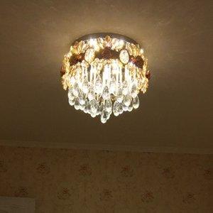 Lustre En Cristal Européen Circulaire Led Plafond Atmosphère Chambre Lampe Warm Room Plafonniers Éclairage Restaurant Aspiration Double Usage Lampe