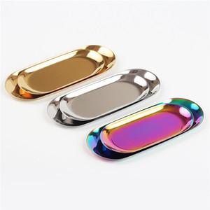Chic Metall Tray Gold-Tray Speicher Edelstahl PVD beschichtet Handtuch Oval Tray Beliebte Artikel Dekoration