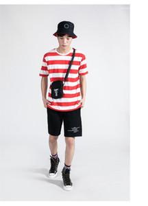 Adolescente Mens ocasional más las camisetas del tamaño para hombre de diseño de rayas Tops manga camisetas cortocircuito de la manera del verano
