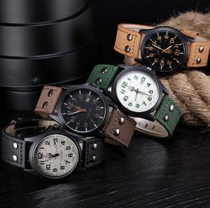 Fashion Vintage Classic Men's Waterproof Date Leather Strap Sport Quartz Army Watch Wristwatch Clock Gift Retro Design